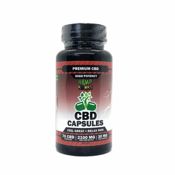 Hemp Bombs, High Potency CBD Capsules, Full Spectrum, 70 Capsules, 2100mg of CBD
