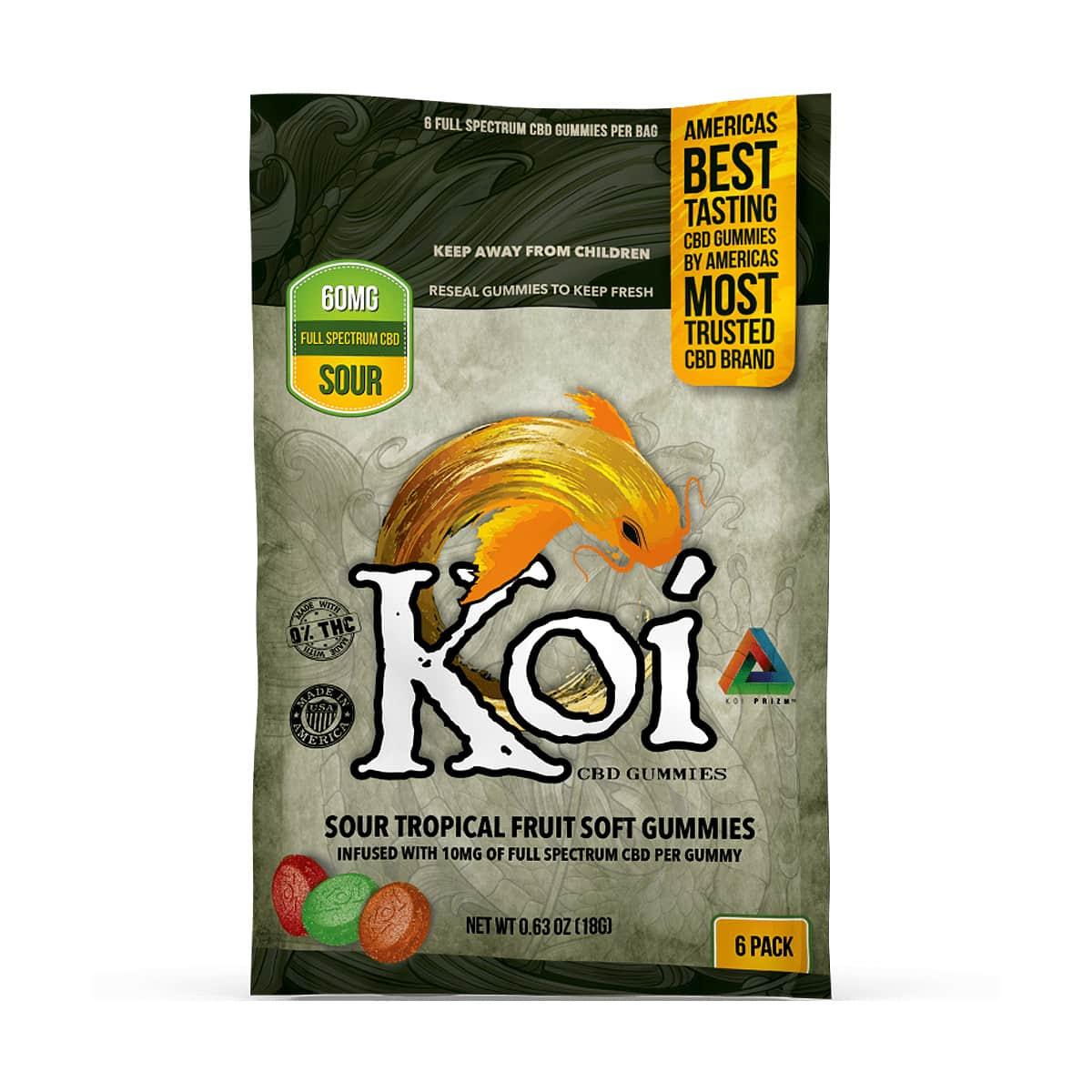 Koi CBD, CBD Gummies, Tropical Fruit, 6-count, 60mg of CBD