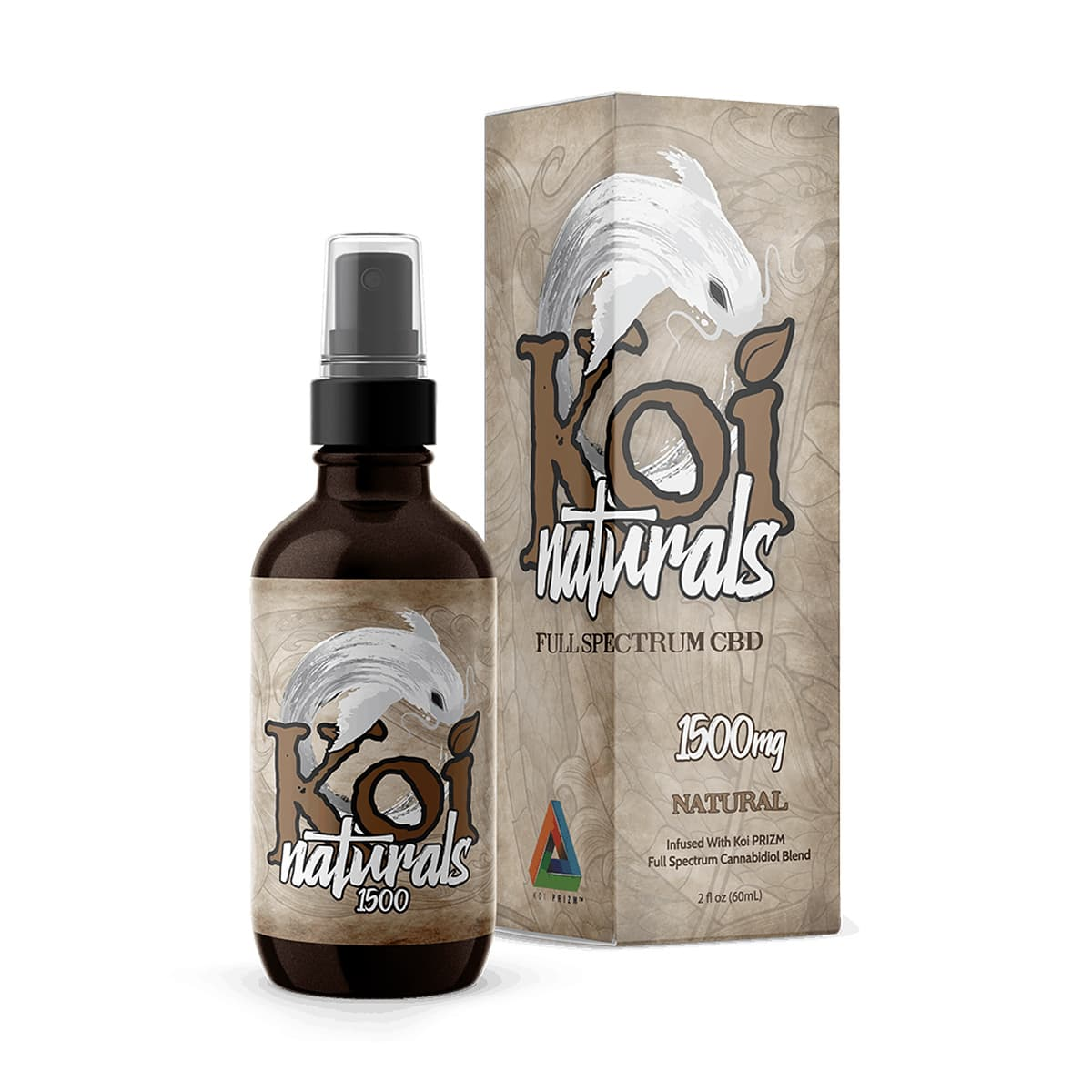 Koi CBD, CBD Oil Spray, Natural Flavor, 60ml, 1500mg of CBD