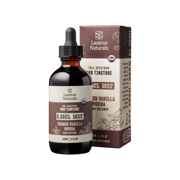 Lazarus Naturals, French Vanilla Mocha Flavored High Potency Full Spectrum CBD Tincture Oil, 4oz, 6000mg CBD 1