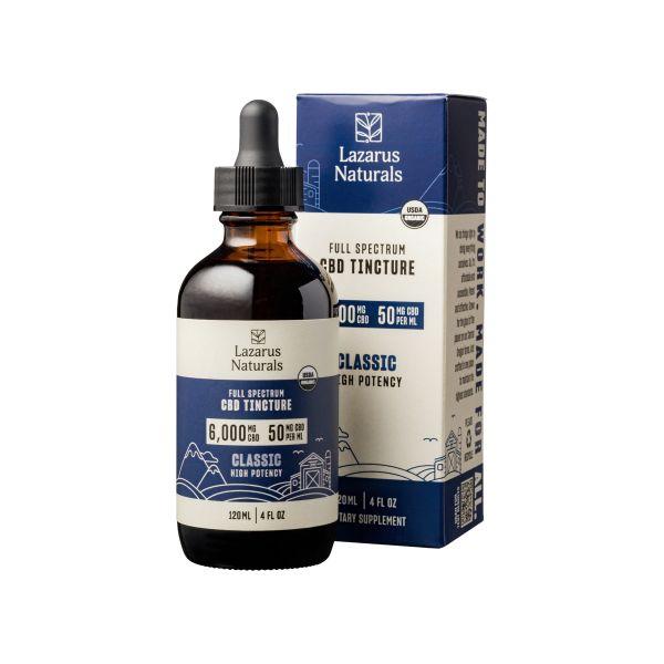 Lazarus Naturals, High Potency Full Spectrum CBD Tincture Oil, Natural Flavor, 4oz, 6000mg CBD 1