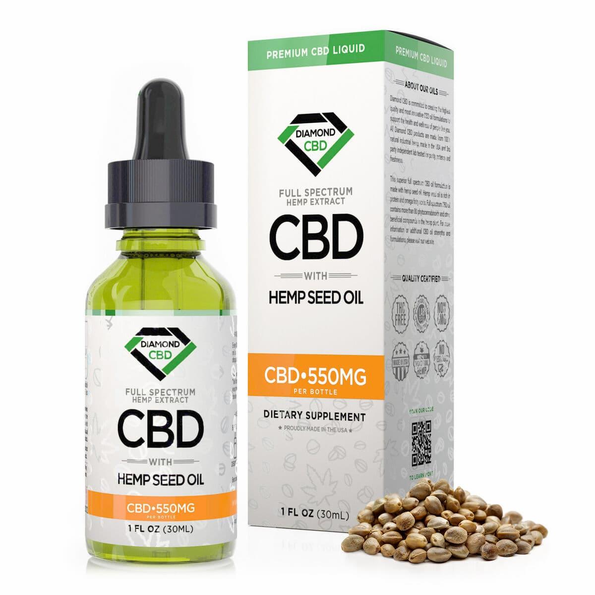 Diamond CBD, Hemp Seed Oil, 1oz, 550mg of CBD