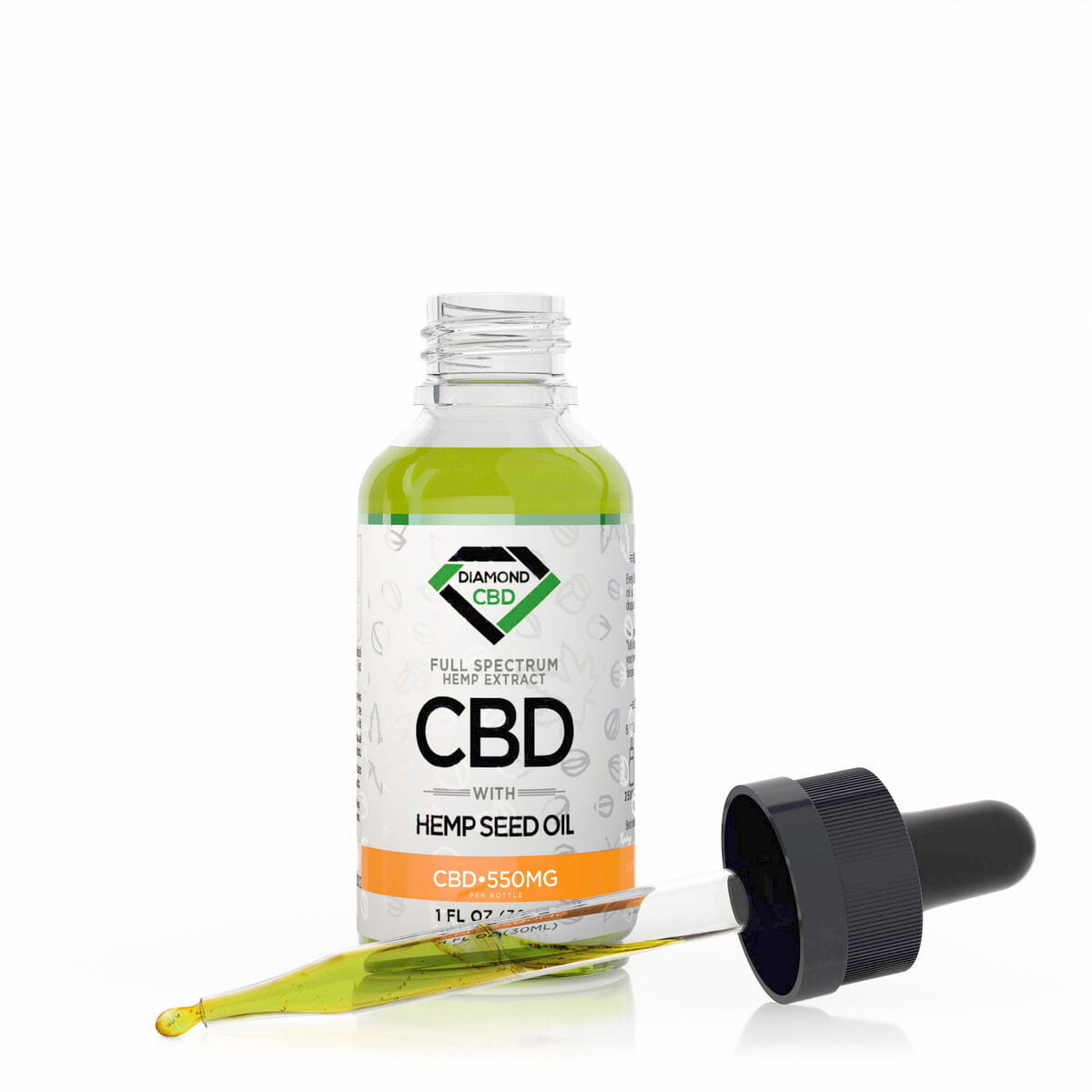 Diamond CBD, Hemp Seed Oil, 1oz, 550mg of CBD