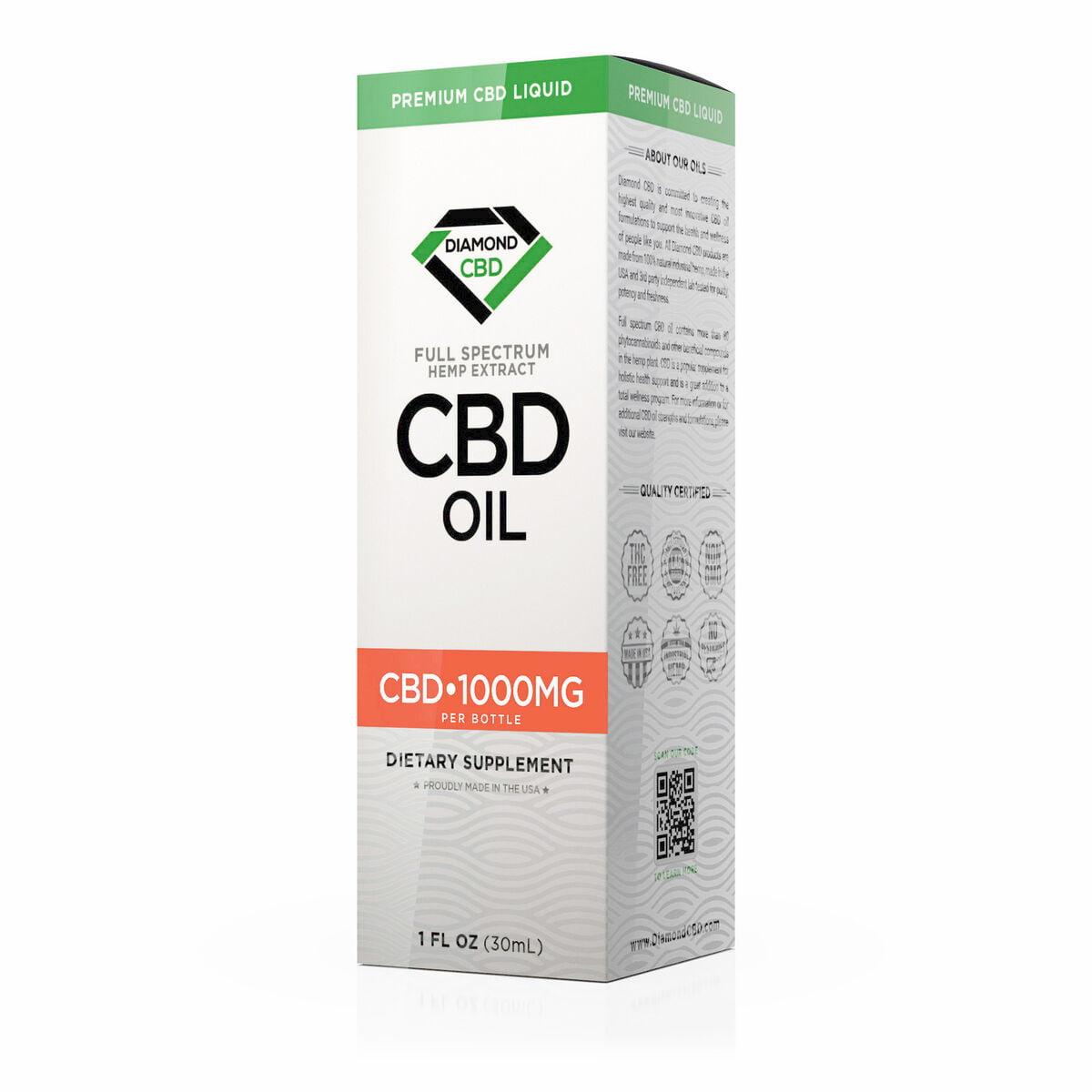 Diamond CBD, CBD Oil, Unflavored, 1oz, 1000mg of CBD