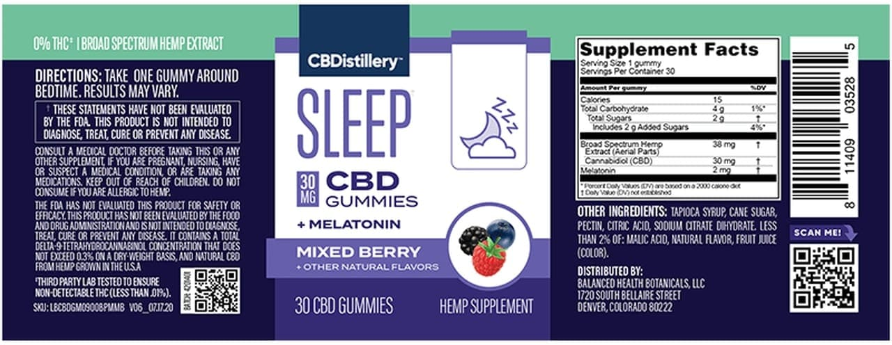 CBDistillery, Broad Spectrum CBD Sleep Gummies + Melatonin, Berry, 30-Count, 900mg of CBD2