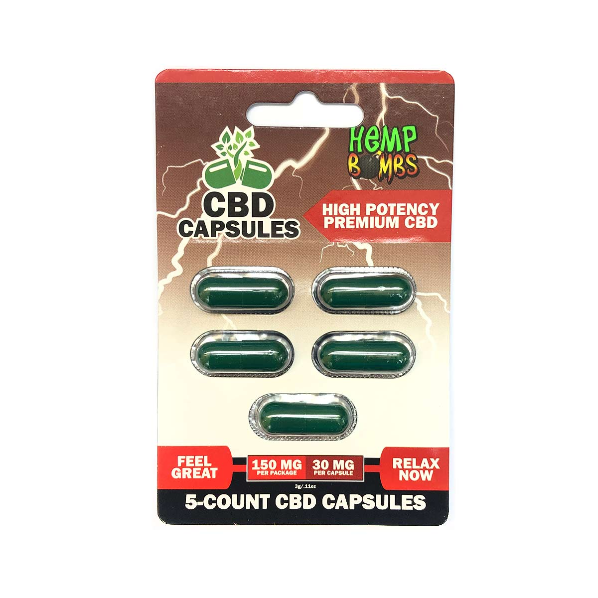 Hemp-Bombs,-CBD-Capsules,-High-Potency-Premium-CBD,-Full-Spectrum,-5-Count,-150mg-of-CBD