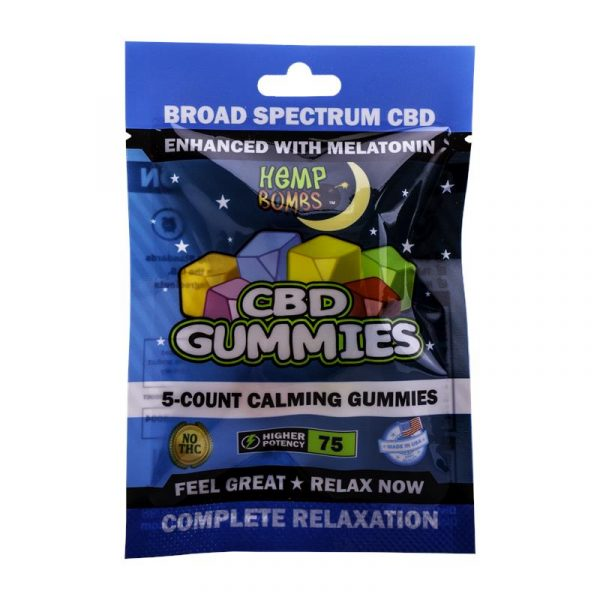 Hemp Bombs, CBD Sleep Gummies with Melatonin, Full Spectrum, 5 Count, 75mg of CBD