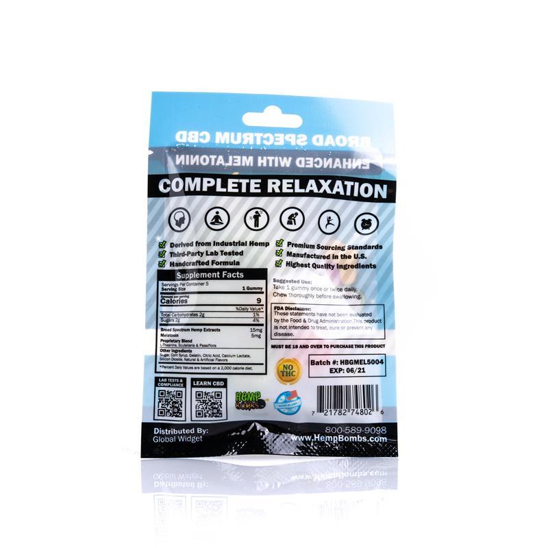 Hemp Bombs, CBD Sleep Gummies with Melatonin, Full Spectrum, 5 Count, 75mg of CBD -back