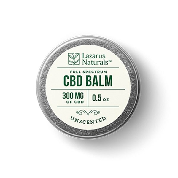 Lazarus Naturals, Unscented Full Spectrum CBD Balm, 0.5oz, 300mg of CBD