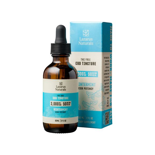 Lazarus Naturals, Wintermint Flavored High Potency CBD Isolate Tincture Oil, THC-Free, 2oz, 3000mg CBD 1