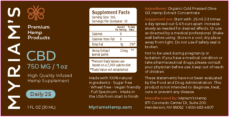 Myriam's Hope, CBD Oil Daily 25, Full Spectrum, Olive Oil, 1oz, 750mg of CBD-back