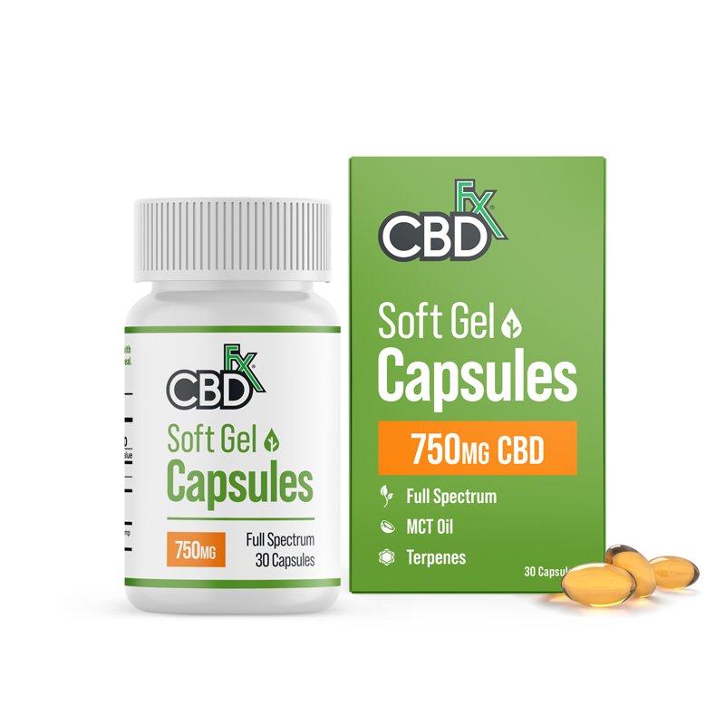 CBDfx, CBD Gel Capsules, Full Spectrum, 30 count, 750mg CBD 1