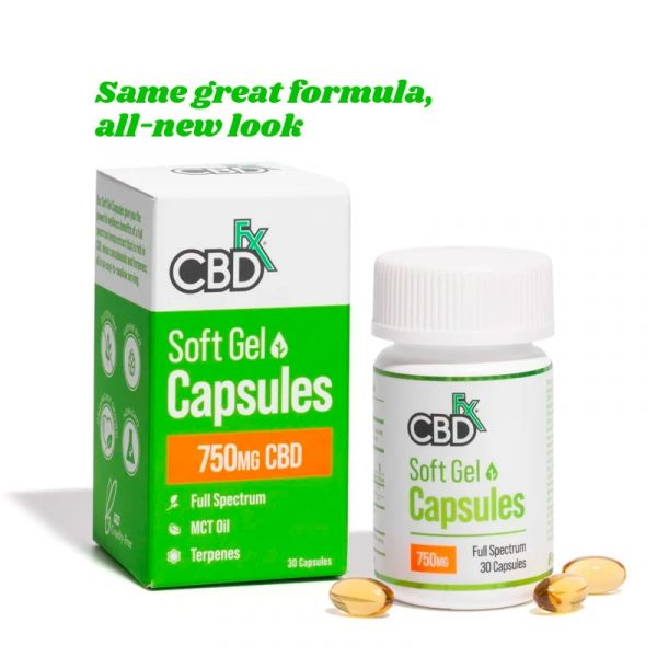 CBDfx, CBD Gel Capsules, Full Spectrum, 30 count, 750mg of CBD
