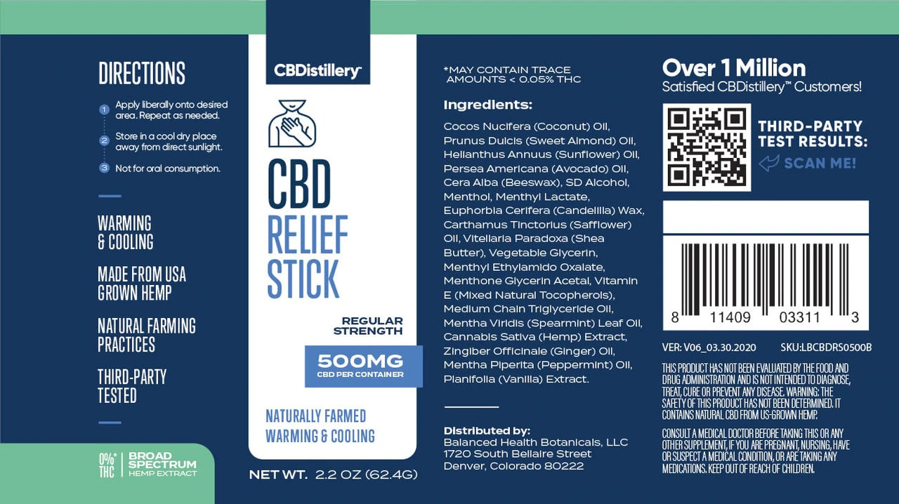 CBDistillery, CBD Relief Stick, Broad Spectrum THC-Free, 500mg of CBD3