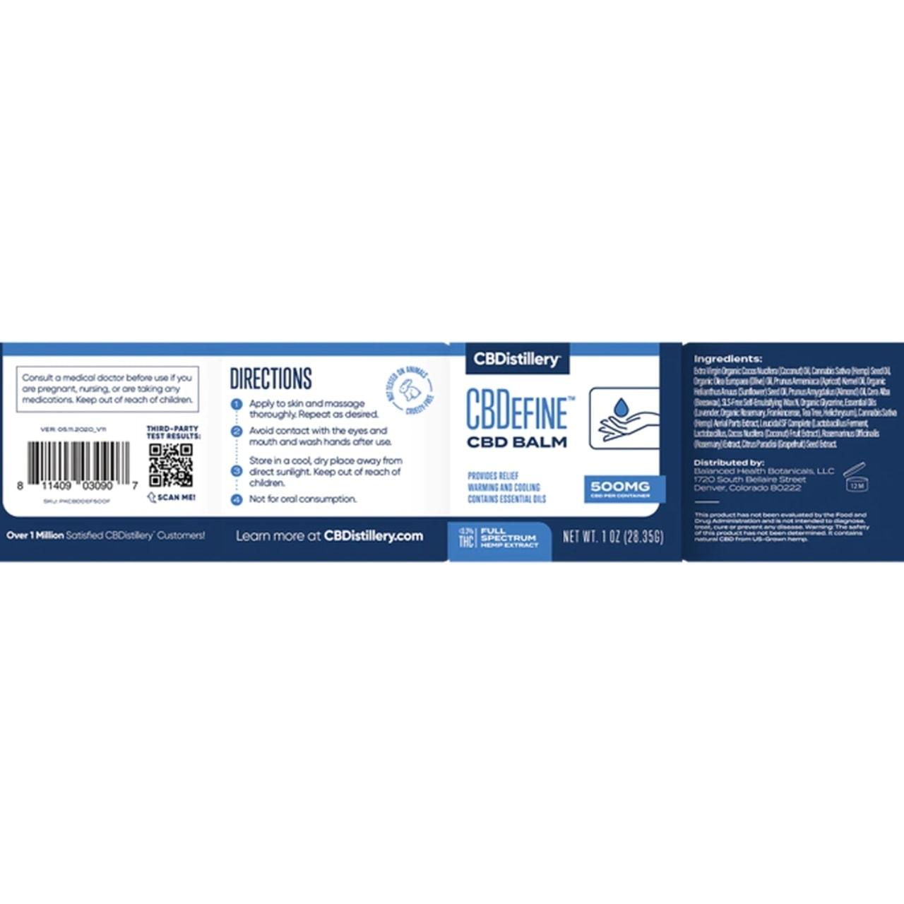 CBDistillery, CBDefine Skin Care Cream, Full Spectrum, 500mg of CBD3