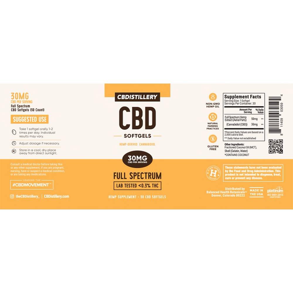 CBDistillery, Full Spectrum CBD Softgels, 30 count, 900mg of CBD2