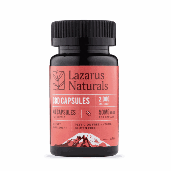 Lazarus Naturals, 50mg Full Spectrum CBD Capsules, 40 capsules, 2000mg of CBD