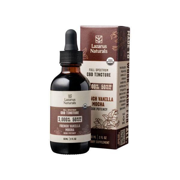 Lazarus Naturals, French Vanilla Mocha Flavored High Potency Full Spectrum CBD Tincture Oil, 2oz, 3000mg CBD 1