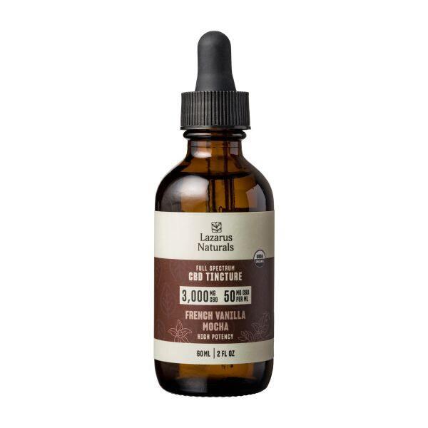 Lazarus Naturals, French Vanilla Mocha Flavored High Potency Full Spectrum CBD Tincture Oil, 2oz, 3000mg CBD 2