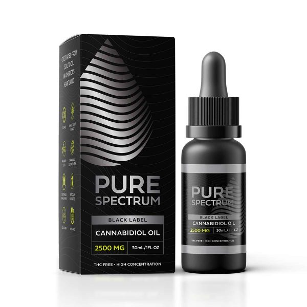 Pure Spectrum, Black Label Cannabidiol Oil, Broad Spectrum THC-Free, 1oz, 2500mg of CBD
