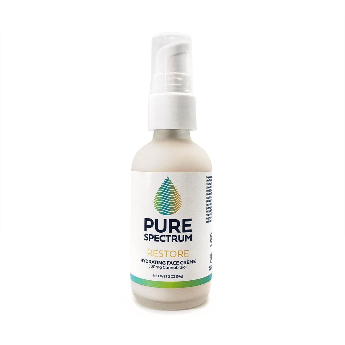 Pure Spectrum, Restore CBD Hydrating Face Creme, 2oz, 500mg of CBD