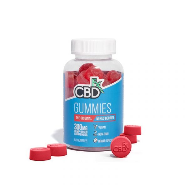 CBDfx, CBD Gummy Bears, Mixed Berries, Broad Spectrum THC-Free, 60 count, 300mg of CBD