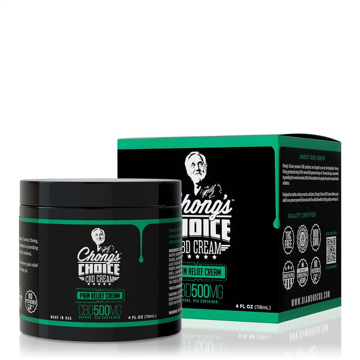 Chong's Choice, CBD Cream, Pain Relief, Broad Spectrum THC-Free, 4oz, 500mg CBD (1)