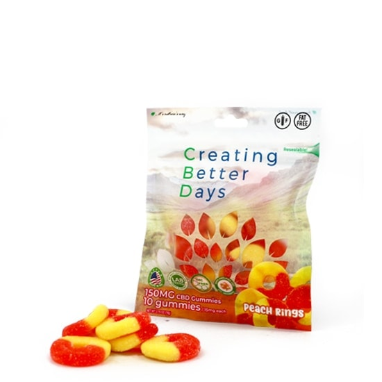 Creating Better Days, Nano-CBD Gummies Peach Rings, 10-Count, 2.7oz, 150mg of CBD