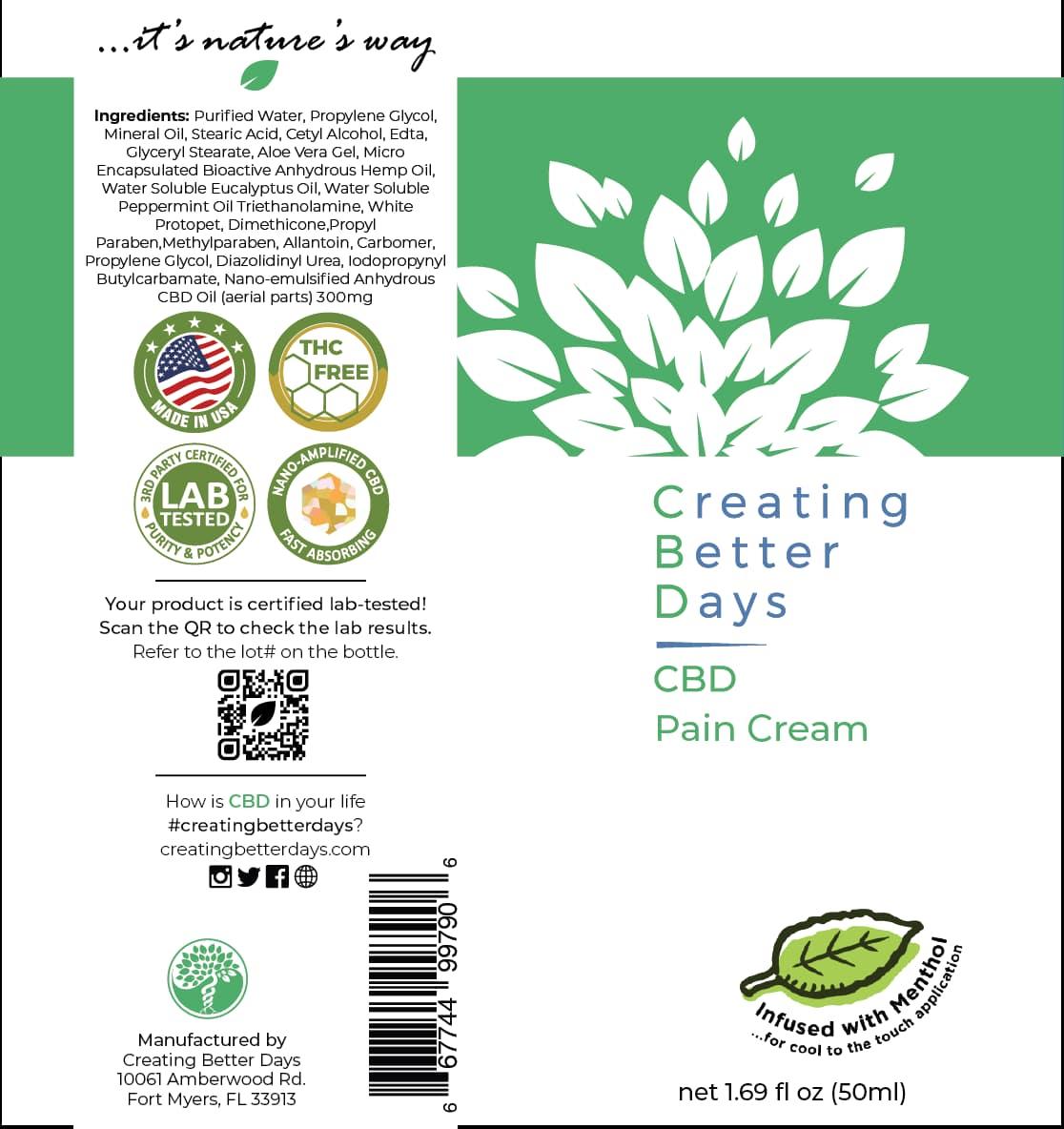 Creating Better Days, Nano-CBD Pain Cream, Full Spectrum, 1.69oz, 300mg of CBD2