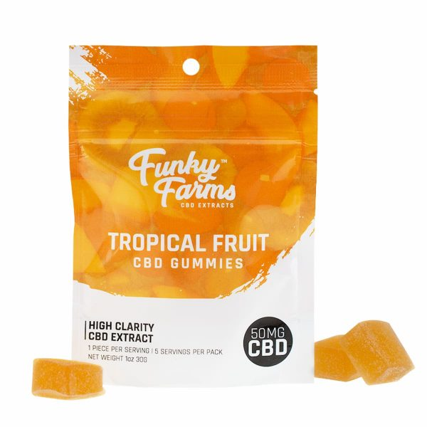 Funky Farms, CBD Tropical Fruit Gummies, Full Spectrum, 50mg of CBD