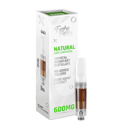 Funky Farms, CBD Vape Cartridge, Natural Flavor, Full Spectrum, 600mg of CBD
