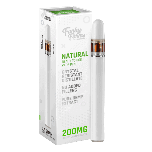 Funky Farms, CBD Vape Pen, Broad Spectrum THC-Free, Natural Flavor, 200mg of CBD