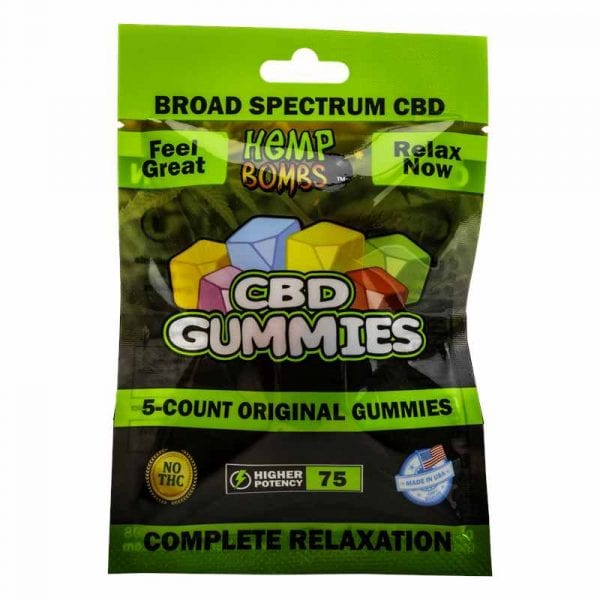 Hemp Bombs, CBD Original Gummies, Broad Spectrum THC-Free, 5-Count, 75mg of CBD