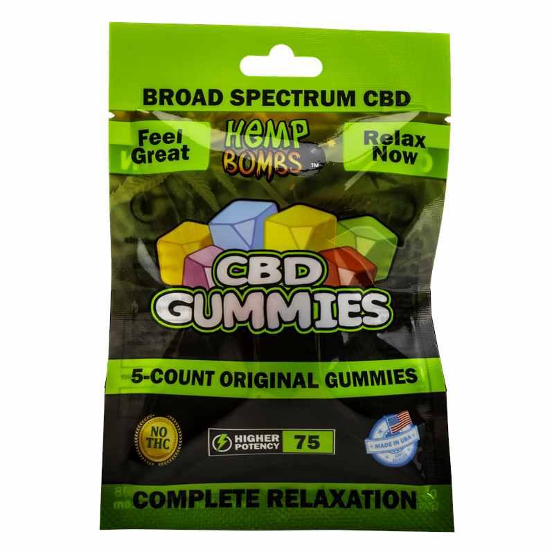 Hemp Bombs, CBD Original Gummies, Broad Spectrum THC-Free, 5-Count, 75mg of CBD