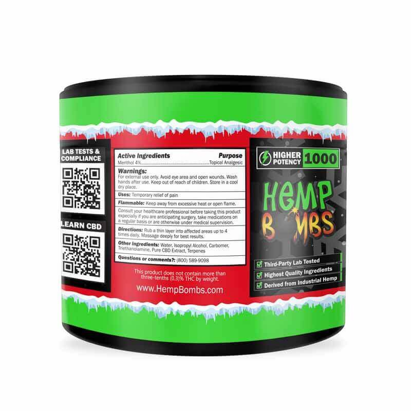 Hemp Bombs, High Potency CBD Pain Rub, Broad Spectrum THC-free, 4oz, 1000mg of CBD-left