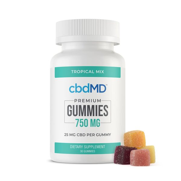 cbdMD,-CBD-Gummies,-Broad-Spectrum-THC-Free,-Tropical-Mix,-30-Count,-750mg-of-CBD