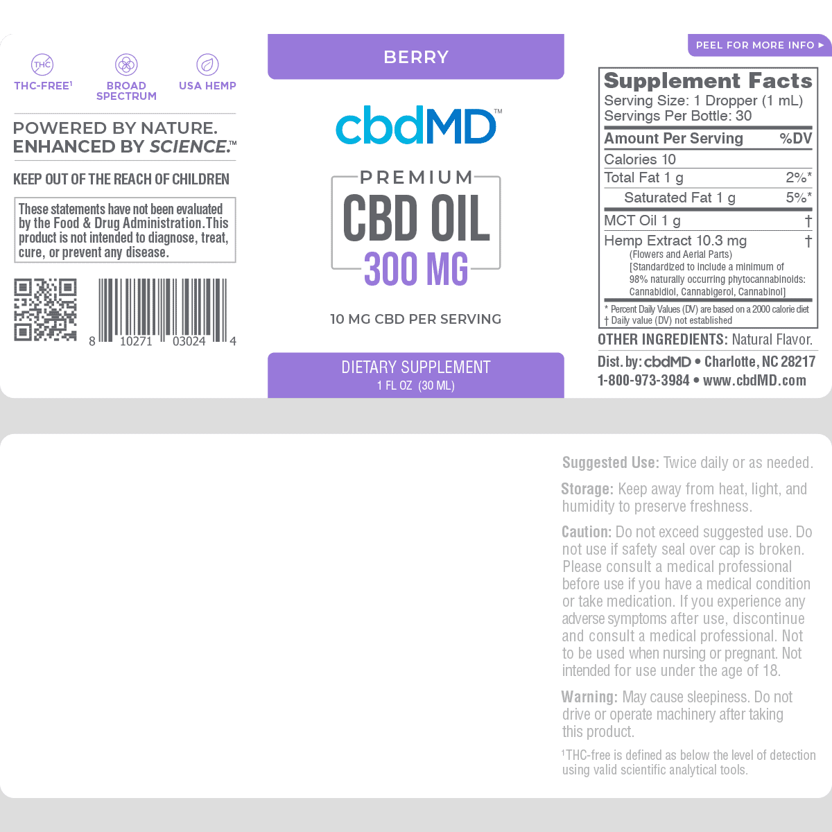 cbdMD, CBD Oil Tincture, Broad Spectrum THC-Free, Berry, 1oz, 300mg of CBD2