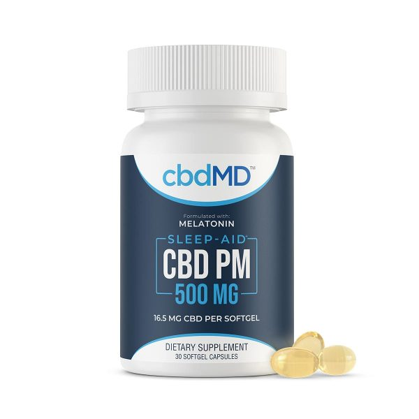 cbdMD, CBD PM Softgel Capsules, Broad Spectrum THC-Free, 30-Count 1oz, 500mg of CBD