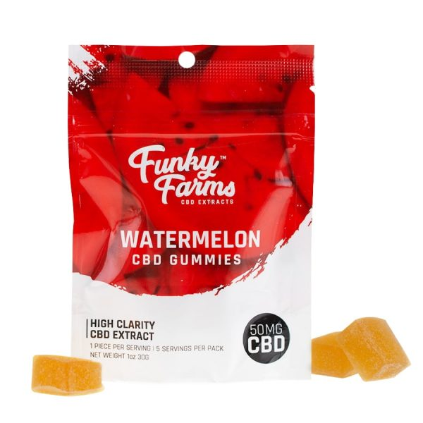 Funky Farms, CBD Watermelon Gummies, Isolate THC-Free, 5-Count, 50mg of CBD