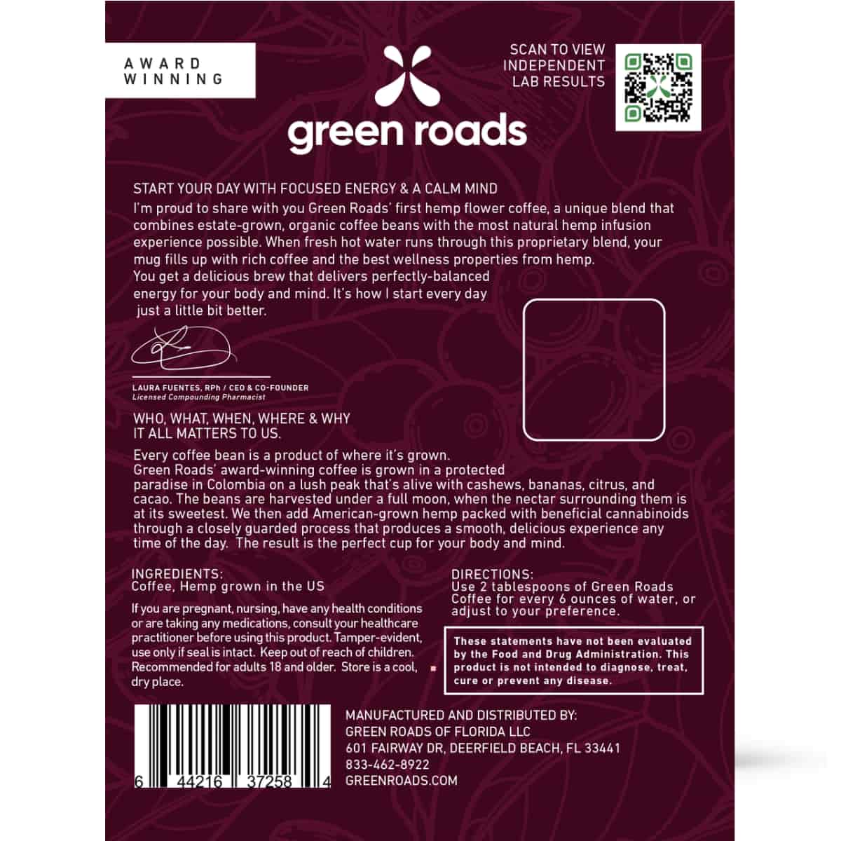 Green Roads, CBD Hemp Flower Coffee, Founders' Blend, 2.5oz-2