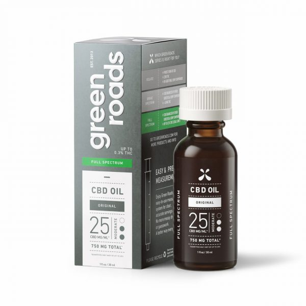 Green Roads, CBD Oil, Full Spectrum, Natural Flavor, 1oz, 25MG/ML, 750mg of CBD