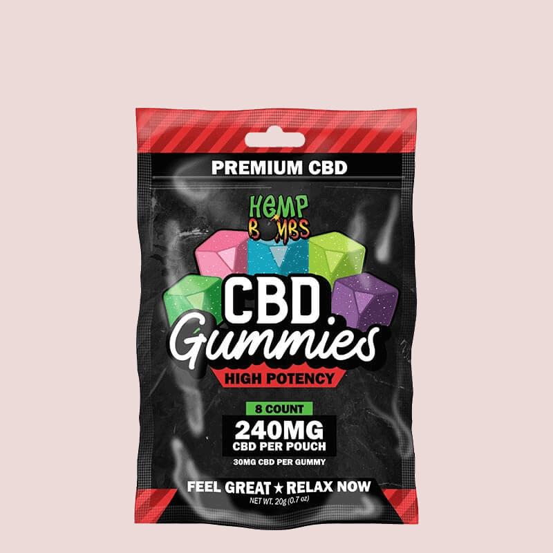 Hemp Bombs, High Potency CBD Gummies, 8-Count, 240mg of CBD