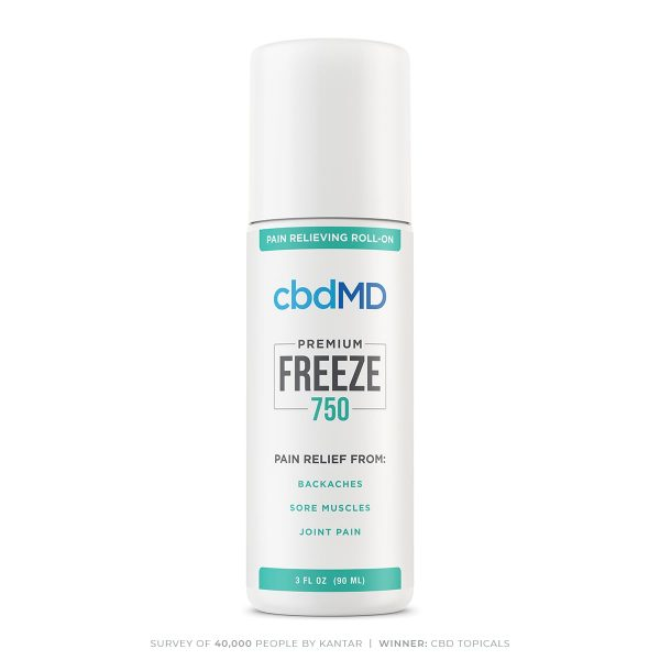 cbdMD, CBD Freeze Roller Gel, Broad Spectrum THC-Free, 3oz, 750mg of CBD