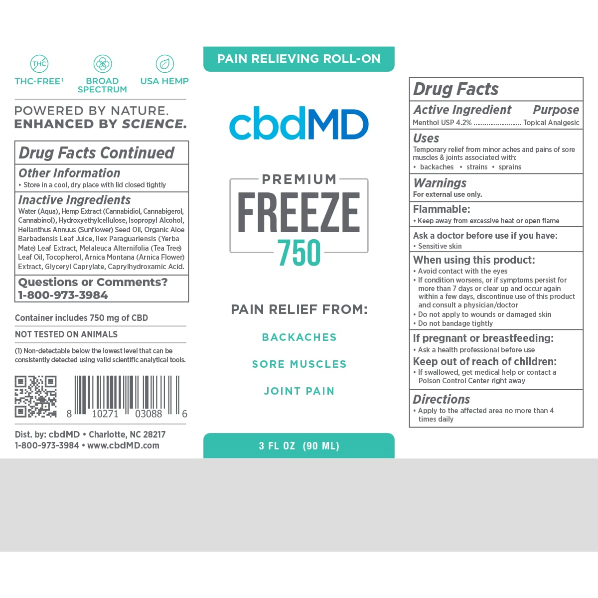 cbdMD, CBD Freeze Roller Gel, Broad Spectrum THC-Free, 3oz, 750mg of CBD2