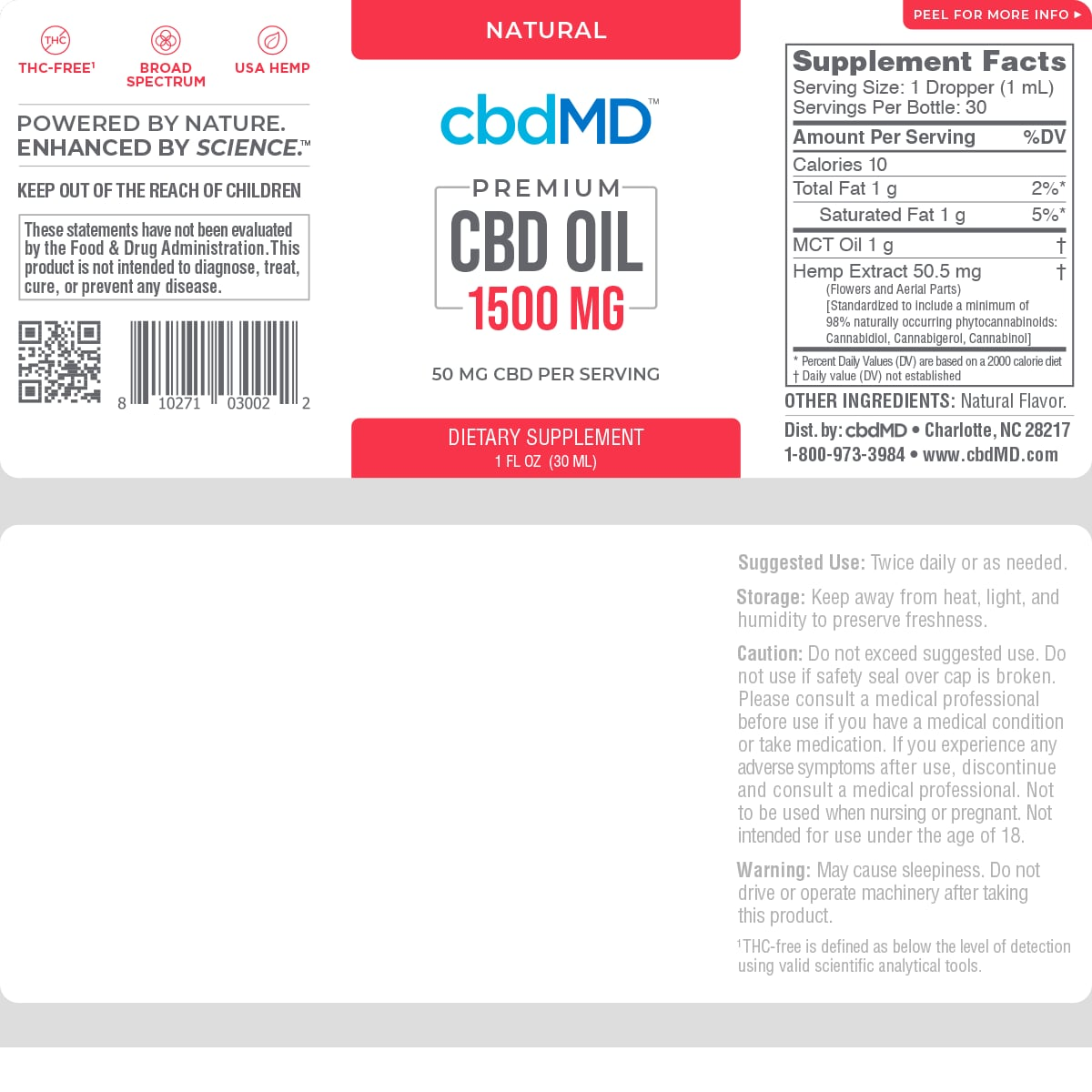 cbdMD, CBD Oil Tincture, Broad Spectrum THC-Free, Natural Flavor, 1oz, 1500mg of CBD2