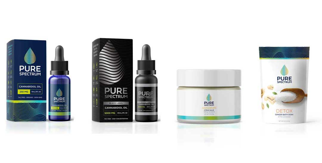 Pure Spectrum CBD Oil Products: CBD oil, CBD rub, CBD bath soak