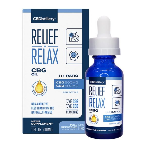 CBDistillery, CBG + CBD Oil Tincture 1:1, Full Spectrum, 1oz, 1000mg of CBD