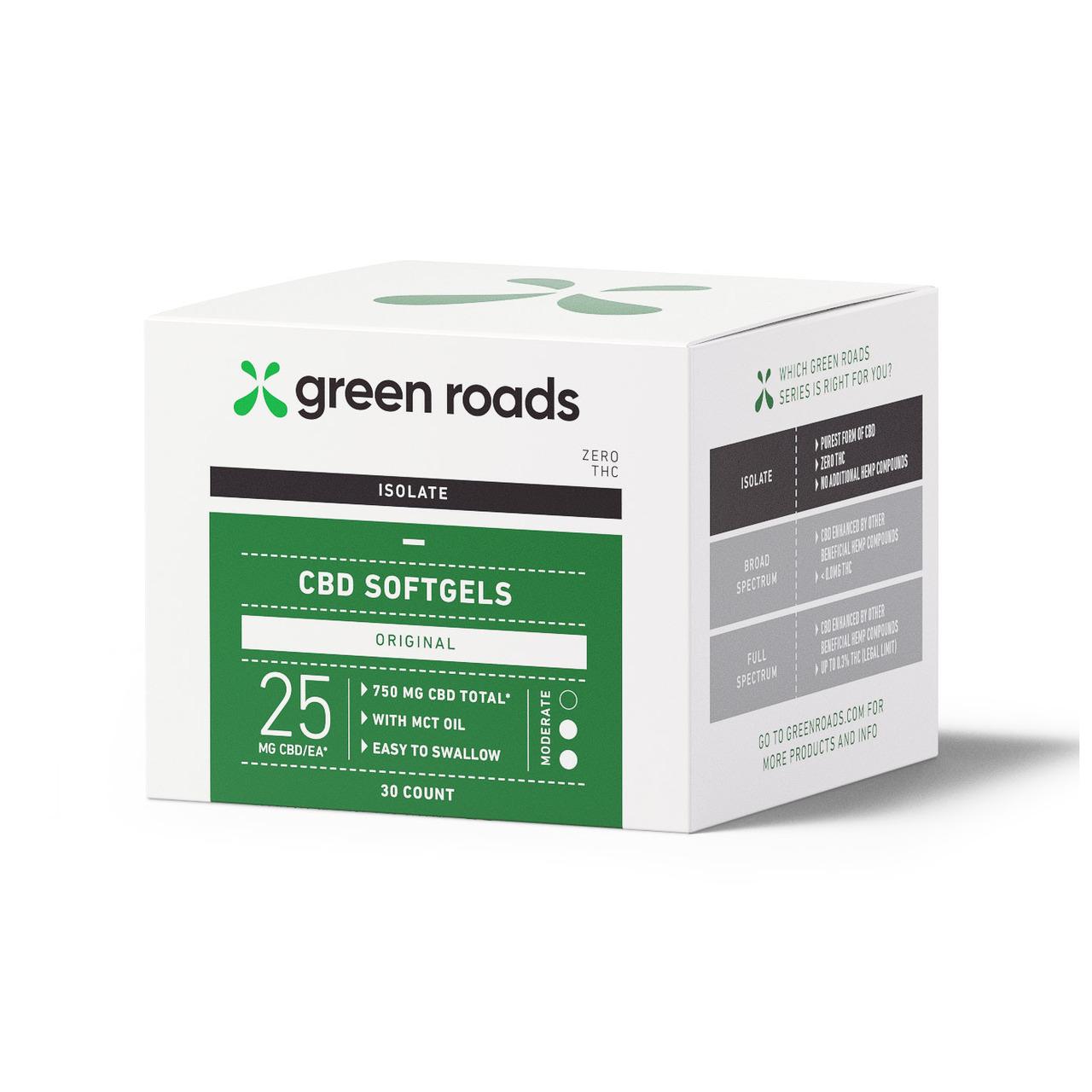 Green Roads, CBD Softgels, Isolate THC-Free, 30-Count, 750mg CBD 1