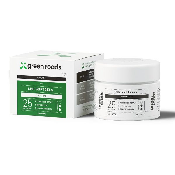 Green Roads, CBD Softgels, Isolate THC-Free, 30 count, 750mg of CBD