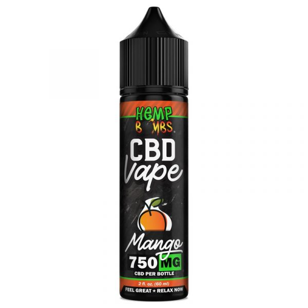 Hemp Bombs, CBD Vape Juice, Full Spectrum, Mango, 2oz, 750mg of CBD